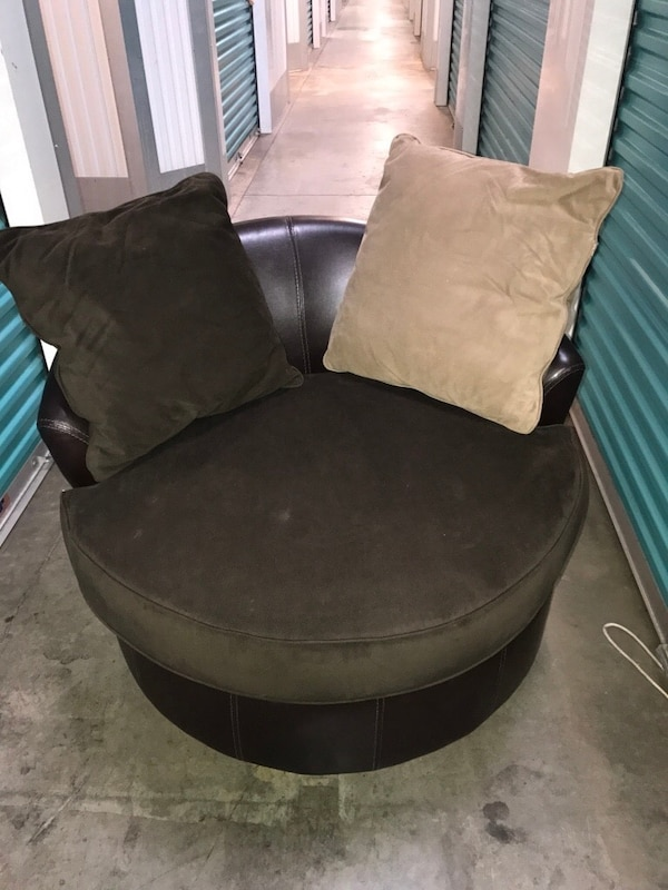 Used Black Suede Cuddle Chair With Throw Pillows For In East Point Letgo