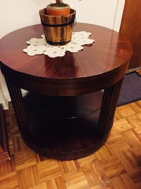 Round black wooden side table Laval, H7T 2R4