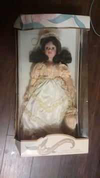 beige and white dressed bisque porcelain doll package Innisfil, L9S 2K7
