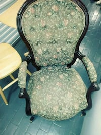 black wooden frame with white floral padded armchair Detroit, 48238
