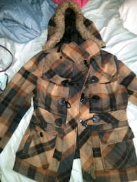 brown and black plaid button-up coat Wyandotte, 48192