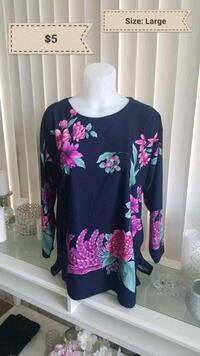 black and pink floral long-sleeved shirt Calgary, T2V 0R6