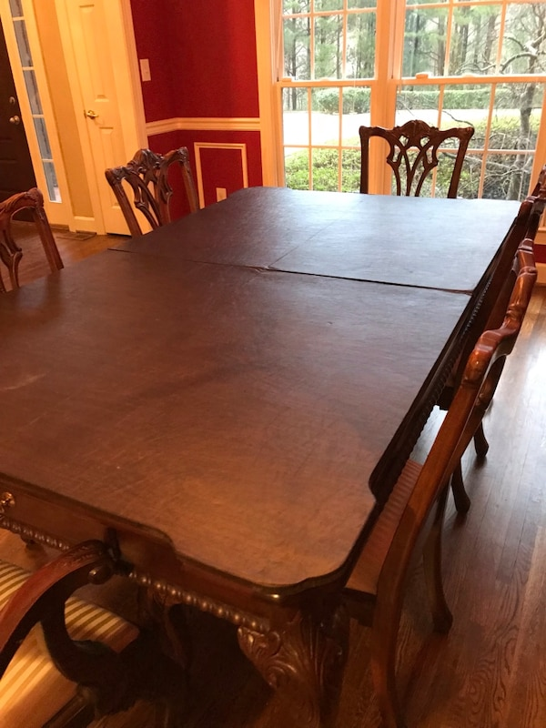 Formal dining room ensemble, table made by Lexington, 8 side chairs, 2 arm  chairs, serving table by Thomasville, all Mahogany. Includes custom made ...