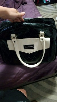 white and black leather tote bag Monterey, 93940