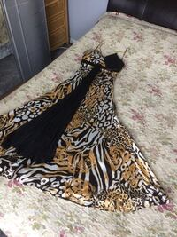 Black and brown leopard print long  dress size Euro 40 uk 12 Bromley, BR1 5NH