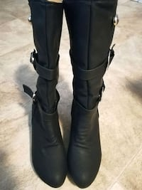 pair of black leather knee-high boots Frederick