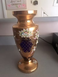 Bohemian hand made crystal royal blue/gold plated (rokoko) flower vase Glendale, 91205