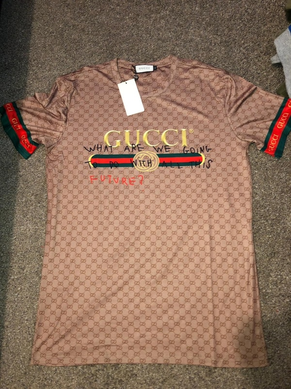 Gray and brown gucci polo shirt size 4XL