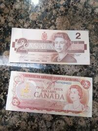 two 2 Canadian dollar banknotes Langley, V3A 1Z4