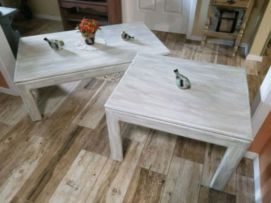 White Wash Distressed Coffee And End Tables