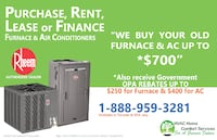 Purchase, Rent, Lease or Finance Furnace and Air Conditioners with Rebates TORONTO