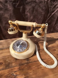 white and gold rotary phone Los Angeles, 90042