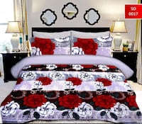 white and red floral bed sheet set Laval, H7V 1J7
