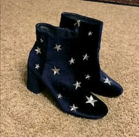 JustFab Navy Velvet Ankle Boots with Silver Stars