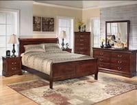 Brown wooden bedroom furniture set,