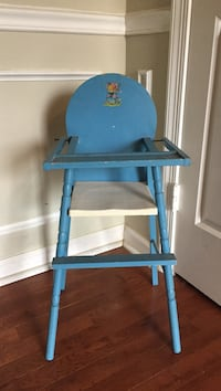 baby's blue and white wooden doll highchair Silver Spring, 20905