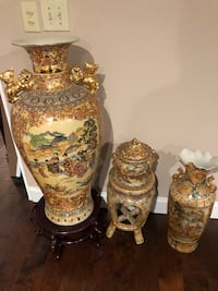 two brown-and-white floral ceramic vases Lithonia, 30058