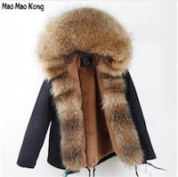 Winter Parka With Real Raccoon Fur Size L Black 551 km