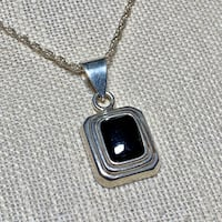 Vintage Sterling Silver Black Onyx Pendant with Sterling Rope Chain Ashburn, 20147