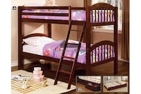 Bunk Bed Cherry Finish with 2 Mattress & Bunkie Boards Lemon Grove