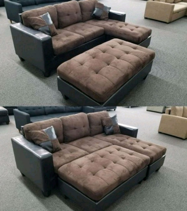 Tufted brown leather sectional sofa