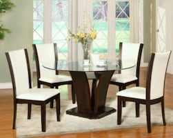 Camelia White/Brown Round Dining Set