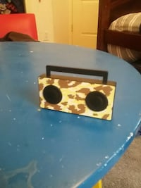 brown and yellow boombox