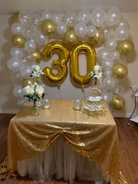 Balloon decoration and gold Sequel tablecloths for sale