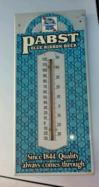 Vintage Pabst Blue Ribbon metal thermometer  Cambria, 50060