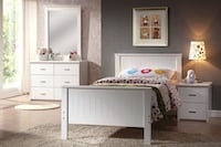 New Bungalow kids youth twin 4 Pc Bedroom Set (Bed Dresser nightstand mirror) Miami
