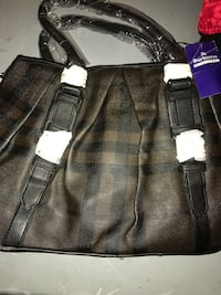 brown and black Plaid Burberry leather tote bag