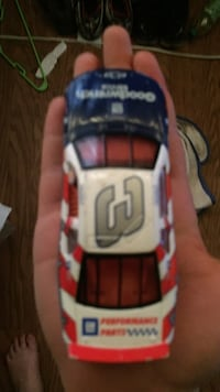 white, red, and blue Dale Earnhardt stock car scale model