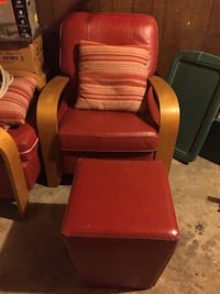 Custom made red and brown wooden leather arm chair St. Joseph charter township, 49085
