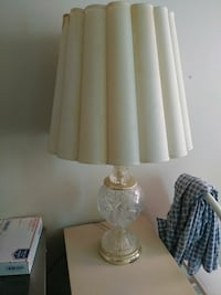 clear glass base white shade table lamp