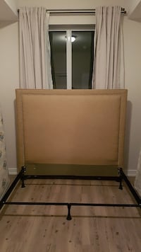 Head board with queen bed frame