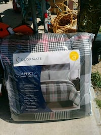 white and gray COLORMATE complete bed set pack Edinburg, 78542