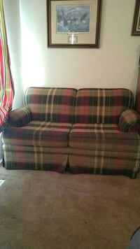 brown, beige and red plaid fabric 2-seat sofa Virginia Beach, 23453