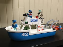 Playmobil police boat and truck
