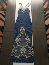 Beautiful Long Navy Blue and Gold Beaded Dress  Wesley Chapel