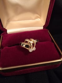 14K yellow gold diamond and coral ring size approximately 8 (negotiable ) Albuquerque, 87111