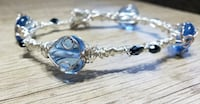 Hand Crafted Silver Memory Wire Wrapped Bracelet, Blue Glass Beads, ha