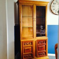 brown wooden framed glass display cabinet London, N5Z 5A8
