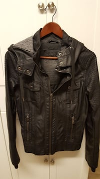 Leather look jacket with hood, gently used. Corner Brook, A2H 4V7