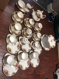 England Royal Albert Old Country Roses $20 for 3 pcs: cup,saucer and desert plate(12 sets available)  $25 for special plate and saucer ( 6 sets available)  The large-two tier cake plate ( dinner and salad size) $75  Teapot, large creamer and sugar bowl an Hamilton, L9A 1T3