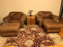 Leather chairs with ottomans (2 chairs and 2 ottomans)