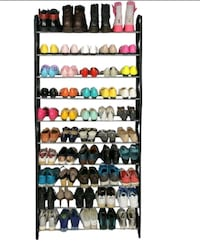 50 Pair 10 Tier Shoe Rack Stainless Steel
