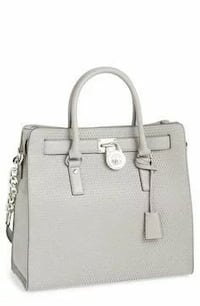 gray Michael Kors leather tote bag