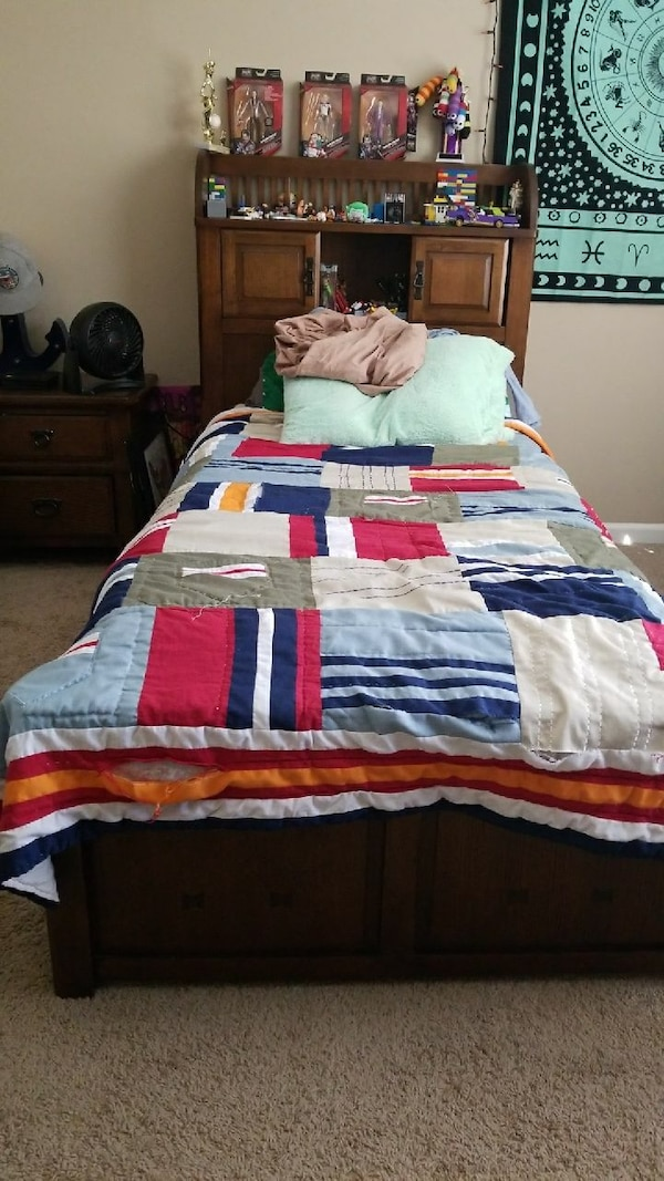 Used Twin trundle bed with night stand and dresser. for sale in