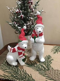 """Set of 2 ~ Polar Bears with presents Sitting 8"""" x 4""""  Standing10"""" x 3"""" Barrie"""