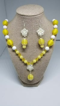 Yellow and  White Princess Necklace Set